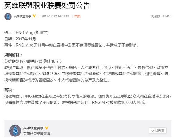 12月12日,英雄联盟赛事发表公告称,因Mlxg于11月中旬在直播中发表不良侮辱性言论,并造成了不良影响,罚款10000人民币。