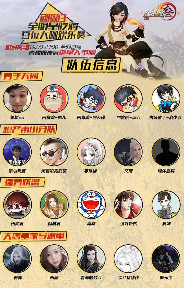 """《剑网3》重制版1月19日百位主播大咖""""吃鸡""""大战"""