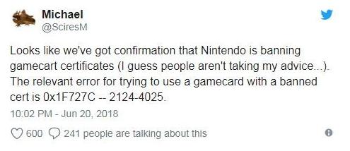 任天堂针对Switch采取游戏卡带认证系统封禁