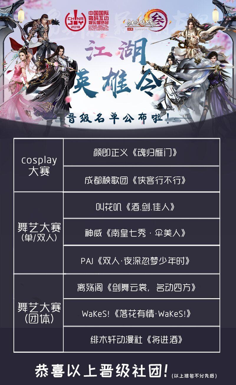"""2018ChinaJoy超级联赛x剑网3""""江湖英雄令""""晋级名单公布!"""
