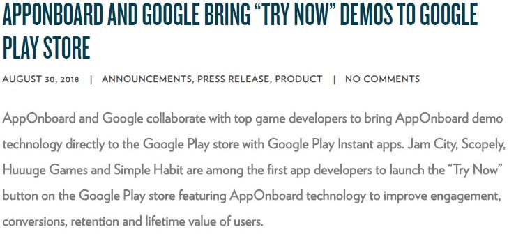 """谷歌推出新服务""""Try Now""""无需下载即可试玩"""